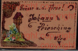 465385,Material Ak Holz Holzkarte Handgemalt Marterl Baum Blumen - Ansichtskarten