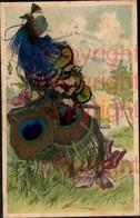 465387,Material Ak Pfau Echte Federn Geklebt Tier Vogel - Ansichtskarten