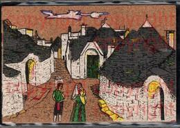 465384,Material Ak Kork Korkkarte Bemalt Dorf Paar Alberolbello Trulli - Ansichtskarten