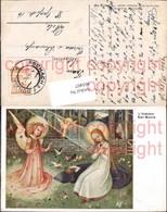 465407,Künstler Ak Bachlehner Ave Maria Engel Heiligenschein Taube Religion