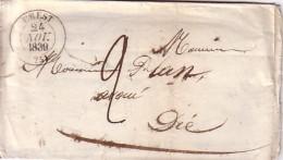 DROME - CREST - T13  LE 24 NOVEMBRE 1839 - TAXE 2 MANUSCRITE. - Marcophilie (Lettres)