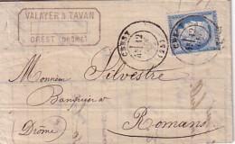 DROME - CREST - LE 12 JUIN 1876 - CERES N°60 - LETTRE ETS VALAYER & TAVAN CREST DROME - COURRIER ENTETE ET SIGNATURE.. - Marcophilie (Lettres)