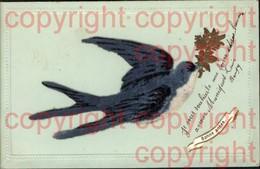 465742,Material Karten Stoff Filz Aufgeklebt Schwalbe Vogel Bonne Annee - Ansichtskarten