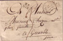 DROME - 25 DIE (10x8mm) - LE 10 MAI 1829 - LETTRE AVEC TEXTE ET SIGNATURE CHEVAUDUS DE VALDROME ? -TAXE 4 POUR GRENOBLE. - Marcophilie (Lettres)