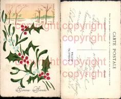 465744,Material Ak Handgemacht Handgemalt Stechpalmen Winter Bonne Annee - Ansichtskarten
