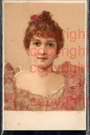 465900,Material Karte Glitzer Perlen Applikation Frau Portrait - Ansichtskarten