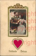 465885,Seiden Karte Duftkarte Satin Herz Paar Passepartout - Ansichtskarten