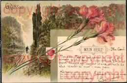 465892,Litho Material Karte Glitzer Applikation Nelke Mein Herz Spruch Text - Ansichtskarten