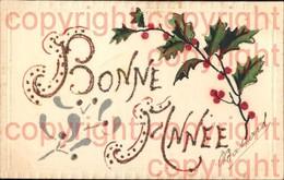 465894,Material Karte Glitzer Applikation Bonne Annee Stechpalmenzweig - Ansichtskarten