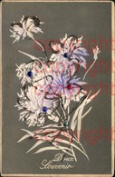 465901,Präge Material Karte Glitzer Pailletten Applikation Blumen Doux Souvenir - Ansichtskarten
