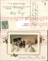 474041,Litho Kutsche Postkutsche Winterlandschaft Passepartout Neujahr - Taxi & Carrozzelle
