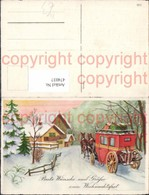 474037,Künstler Ak Kutsche Winterlandschaft Weihnachten - Taxi & Carrozzelle