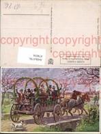 474036,Künstler Ak R. Trache Frühlingsfahrt Kutsche Hund - Taxi & Carrozzelle