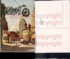 474054,Künstler Ak L. Mössler Rothenburg O. D. Tauber Kutsche Pferdegespann - Taxi & Carrozzelle