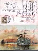 474002,Künstler Ak Kriegsschiff Schiff Segelboote Sonne Stimmungsbild Eis U. Schnee A - Krieg