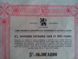 Bonds Internal State Loan SHARE Shareholdings CERTIFICATE 5000 Lev 5% KINGDOM OF BULGARIA 1943 RARE BULGARIEN - Banque & Assurance