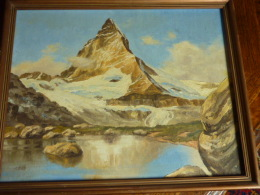 Ancien Tableau Montagne Le Cervin Signé - Olieverf