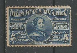 Poétesse Gertrude Gomez De Avellaneda 5c Blue - Oblitérés