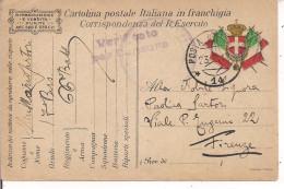 R.ESERCITO ITALIANO,FRANCHIGIA,POSTA MILITARE 14- 66' BATTAGLIONE BERSAGLIERI,ZONA GUERRA, CENSURA, PER FIRENZE - 1914-18