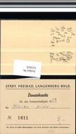 521019,Dauerkarte Freibad Langenberg Rheinland Velbert Kr. Mettmann - Werbepostkarten