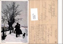 520848,Künstler AK Scherenschnitt Silhouette Rolf Winkler Am Treffpunkt Liebe Winter - Scherenschnitt - Silhouette