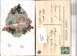 520886,Material AK Fleece Aufgeklebtes Bild Hände Blumen Schwalbe - Ansichtskarten