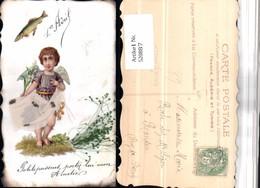 520887,Material AK 1. April Aufgeklebtes Bild Engel Stoff Fisch - Ansichtskarten