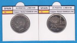SPAIN /JUAN CARLOS I    25  PESETAS  Cu Ni  1.980 #80    KM#818    SC/UNC     T-DL-9423 - 25 Pesetas