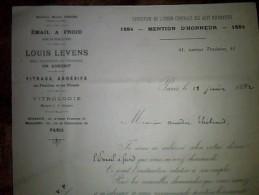 Vieux Papiers Facture Vitrologie Email A Froid.. Louis Levens A Paris Av Trudaine Anne 1892 - 1800 – 1899