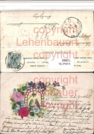 520889,Präge Material Litho Seide Rosen Blumen Vögel - Ansichtskarten