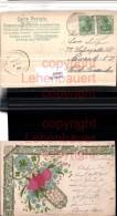 520888,Präge Material Litho Seide Blumen Klee - Ansichtskarten