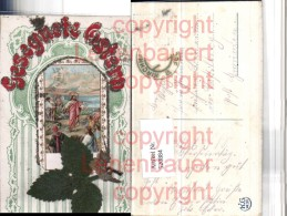 520884,Glitzer AK Ostern Jesus Passepartout Applikation Blatt - Ansichtskarten