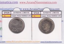 SPAIN /JUAN CARLOS I    25  PESETAS  Cu Ni  1.980 #81    KM#818    SC/UNC     T-DL-9424 - [ 5] 1949-… : Royaume