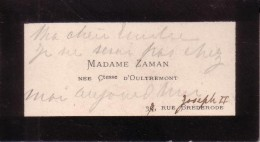 Madame ZAMAN Comtesse D'OULTREMONT Carte De Visite - Cartes De Visite