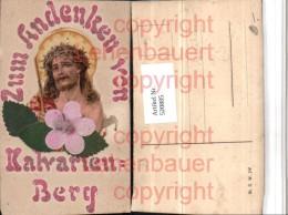 520885,Glitzer Applikation Kalvarienberg Jesus Blätter - Ansichtskarten