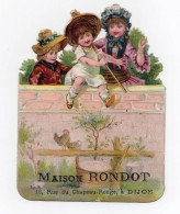 CHROMO Découpis Maison Rondot Dijon Enfants Jeu Fillettes Chapeau Ombrelle Chromo Recto Et Verso - Victorian Die-cuts