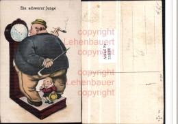 518600,Künstler AK Übergewicht Völlerei Waage Kind Rauchen Humor - Humor