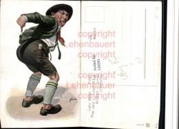 518593,Künstler AK F. Quidenus Exzentriker Mann Po Zunge Type Humor - Humor