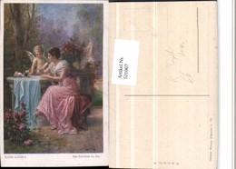 521067,Künstler AK Hans Zatzka Ein Brieflein An Ihn Frau Kleid Amor Engel - Zatzka