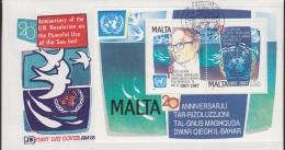 Malta 1987 United Nations Resolutiion On The Seabed M/s FDC (F5483) - Malta