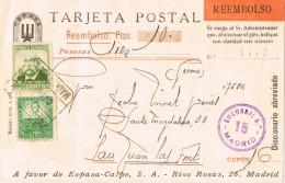 18868. Tarjeta Privada Certificada  Contra Reembolso MADRID 1937. Espasa Calpe - 1931-Aujourd'hui: II. République - ....Juan Carlos I