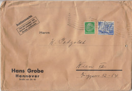 Hans Grobe Hannover Company Letter Cover Travelled 1940 To Wien B160802 - Alemania