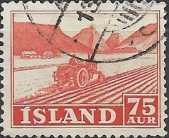 ICELAND 1950 Tractor - 75a. - Orange FU - Usati