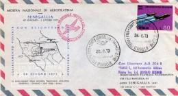 Italia 1973 Senigallia Volo Postale Verso Orbetello Con Elicottero Aerofilatelia Annullo Su Busta - Elicotteri