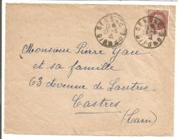 OBLITERATION SUR DEVANT DE LETTRE DE GENSAC (GIRONDE) DU 27/5/1942 - 1921-1960: Periodo Moderno