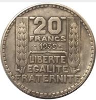 Réplique 20 Francs Argent 1939 Turin - France