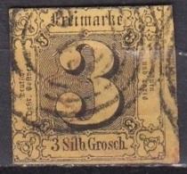 THURN & TAXIS 1852 Freimarken Ziffern 3 Gr Schwarz Auf Lebhaftbraungelb Michel 6 Vierringstempel 13 - Thurn En Taxis