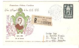 Carta De Ecuador Con Matasellos 1954 Via New York Con Viñeta Por Detras. - Ecuador