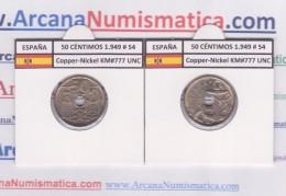 SPAIN / FRANCO   50  CENTIMOS  1.949  #54  CU NI  KM#777  SC/UNC     T-DL-9210 - [ 5] 1949-… : Kingdom