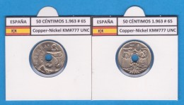 ESPAGNE / FRANCO   50  CENTIMOS  1.963  #65  CU NI  KM#777  SC/UNC     T-DL-9212 - [ 5] 1949-… : Royaume